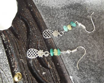 Hooks earrings silver metal charm silver pineapple, natural stone azurite and Russian amazonite chips.