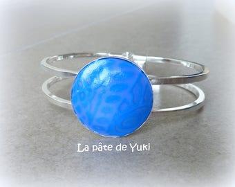 Bracelet round blue purple handmade polymer clay