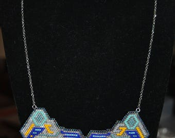 Blue/yellow/silver ethnic bib necklace pendant