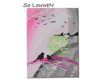 LOVELY BIRDS table composed of 1 canvas with acrylic paint