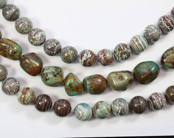 Gemstone, Swirls, Turquoise, Round Beads, Earth Tone, Nugget Beads, Large Beads, DIY, BS286