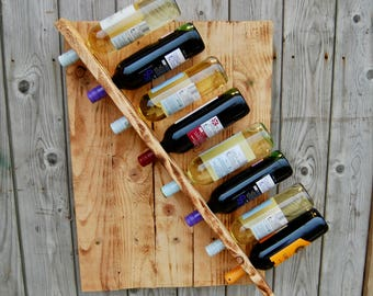 Wine Rack- Rustic Wood Wall Wine Display- 8 Bottle- Unique Gift