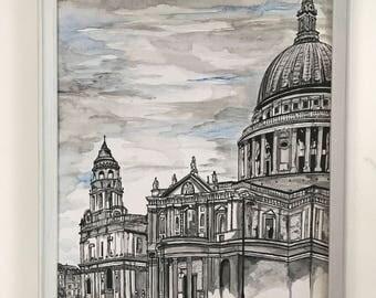 St Pauls Cathedral illustration // Original Artwork