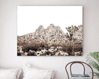 Desert Cactus Print Landscape Wall Art Print Photography Sepia Beige White Home Decor Digital Prints Printable Downloadable Art Instant