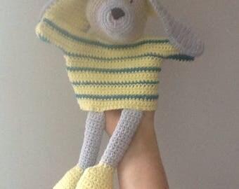 Crochet dog hand puppet