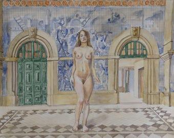 Watercolor Unique art Orginal painting Aquarell