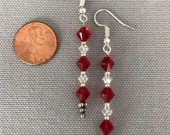 Red Swarovski Crystal Earrings