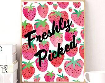 Freshly Picked Strawberries Print // Printable Download