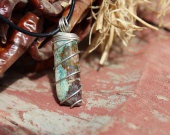 Sterling Silver wire wrapped Turquoise necklace