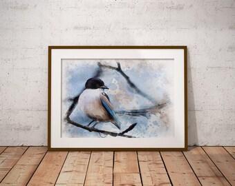 Bird Watercolor Painting, flycatcher Bird on Branch, Instant Download Bird Print, Watercolor Painting, Wall Art, Nature Print, Home Decor