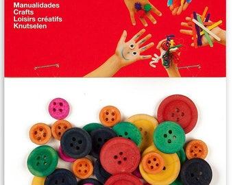 Assortiment boutons en bois multicolore x 30 - APLI - Ref 13481 ---------- Jusqu'à épuisement du stock !
