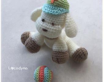 Plush dog Amigurumi Pataud Crochet ball acrylic cotton-white breakage multicolor-room child-birthday gift - Amigurumi Dog