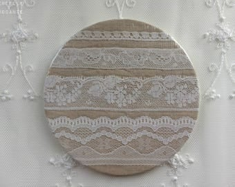Romantic retro coaster: vintage lace and old