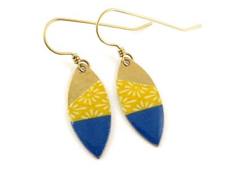 Yellow and blue paper marquise navette earrings washi geometric pattern. W-09