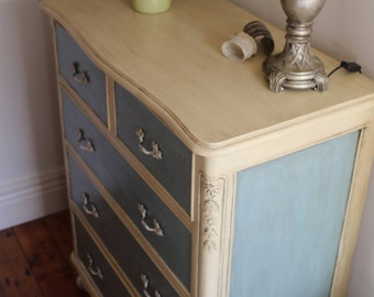 Beautiful victorian hand painted large solid dresser