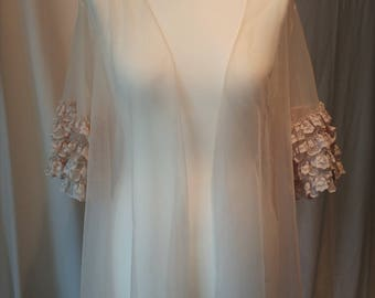 Vintage 1960s Rosé Champagne Chiffon Top - Delicate Lace Sleeves