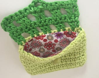 Coin purse small crochet coin purse green makes cute present