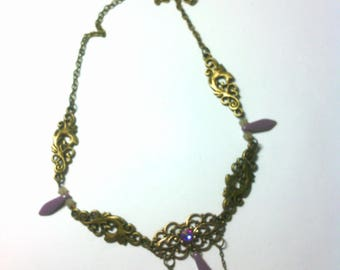 Headband/necklace/headband 3 in1 Candice brass and Crystal