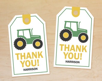 Tractor Party Favor Tags Personalized, Birthday Thank You Tags, Tractor Party Decorations, Tractor Birthday Theme, Printable Thank You Tags