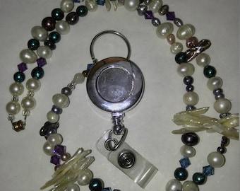 Fresh water pearls and Swarvoski crystals Badge holder