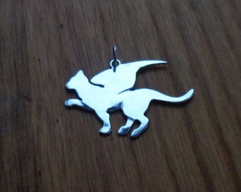 Sterling Silver Winged Cat Charm