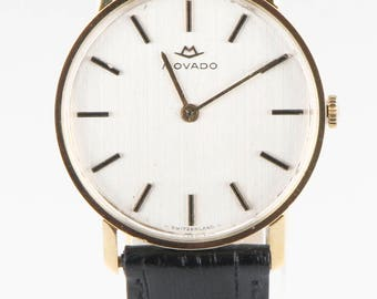 Men's Vintage Movado 18kt Gold Hand-Winding Watch w/ Black Leather Band