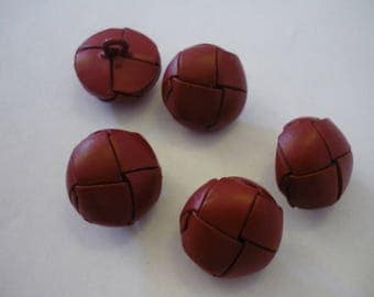 5 leather red 21 mm, round shank button