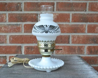 Hurricane Lamp with Milk Glass Base and Frosted Eagle Chimney