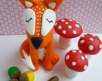 Dreamy Fox large polymer clay