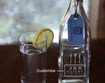 Beautiful 1-Liter Square Swing Top Water Bottle with Custom Etching (w/ Clear Background & Initials) - Great Wedding or Housewarming Gift