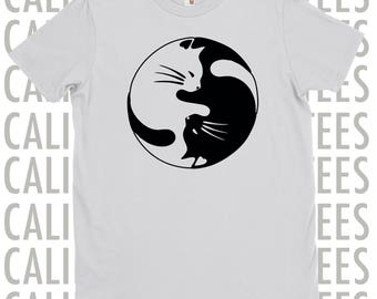 Ying Yang Cat Shirt. Cat T-Shirt. Cat Shirts. Ying Yang Cat. Cat Shirt. Two Colors. Small - 3XL. Funny Cat Shirts. Funny Cat Shirt.