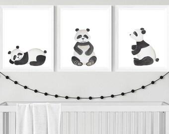 Set of 3 A4 watercolour panda prints - nursery art