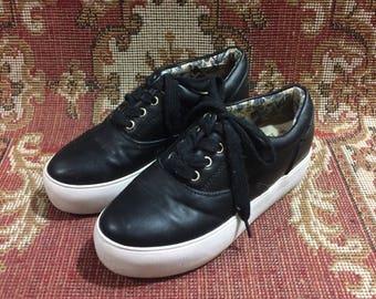 UK 5 POPURCAT Skate Shoes Lace Up Black Flatform/Platform