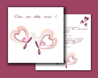 butterflies/hearts 14.8x14.8 cm duplex wrinkle free wedding invitation