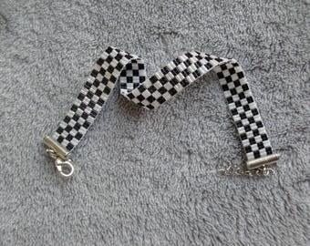 tissage, bracelet tisser, bracelet damier, noir et blanc, cadeau homme, perle, miyuki, perle japonaise, fermoir mousqueton, apprêts argenté