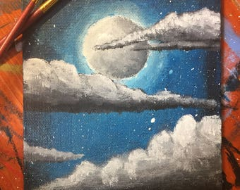 Moonlight, acrylic, canvas board painting - original painting