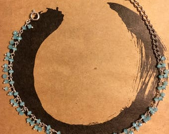 Blue chalcedony/sterling silver anklet
