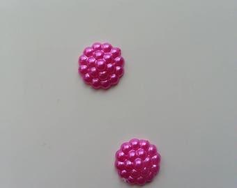 lot de 2 embellissements en résine rose fuchsia 12mm