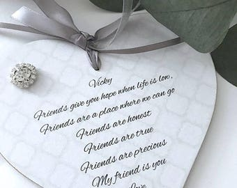 Personalised Friend/Friendship Heart Sign/Plaque Gift Keepsake P299