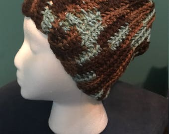 Crocheted blue and brown beanie