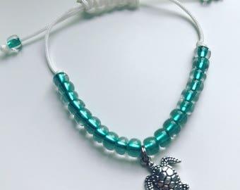 Turtle Adjustable Beaded Charm Bracelet