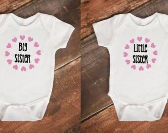 Big Sister Little Sister onsie body suit personalised