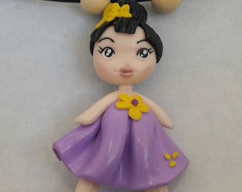 Necklace Japanese kokeshi - doll style doll girl Fimo / polymer clay is hand - Cute polymer clay doll necklace