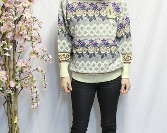 Vintage Jacquard Turtleneck Sweater