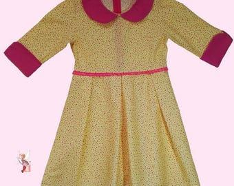 Dress Peter Pan collar girl cotton pink Sun.