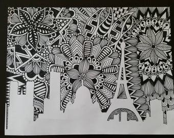 Paris Skyline Zentangle