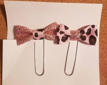 Pink Planner Clips| Bookmarks| Leopard Print Clips| Journal Accessories|  Pink Office Supplies