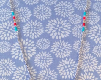 Necklace in Sterling Silver 925 blue Magnesite beads and Red resin
