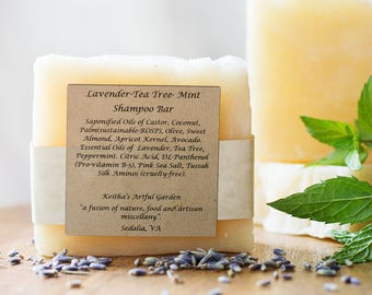 Lavender-Tea Tree-Mint Shampoo Bar---super sudsy and filled with skin and hair loving ingredients !