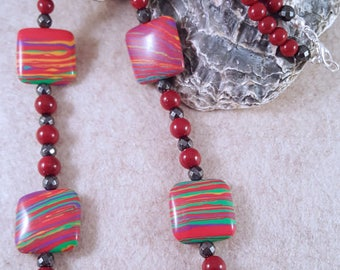 Great necklace of red/colorful acrylic beads and hematite